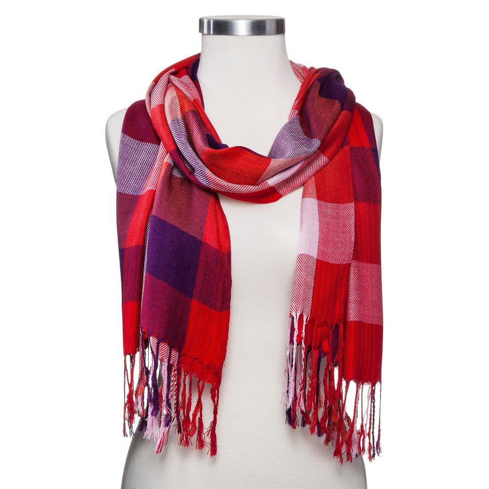 Womens Oblong Scarf Red Plaid - Sylvia Alexander