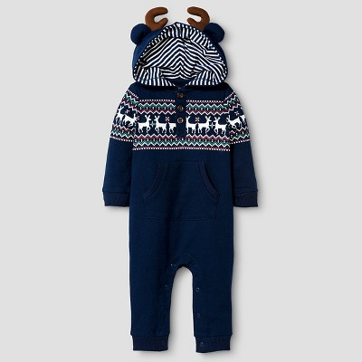 Baby Boys' Reindeer Coverall Baby Cat & Jack™ - Night Blue 6-9 M