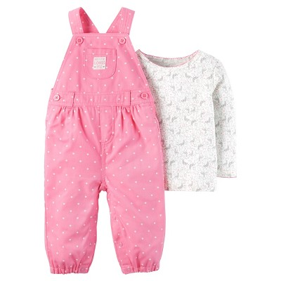 Just One You™ Made by Carter's® Baby Girls' 2pc Polka Dot Overall Set - Pink 3M