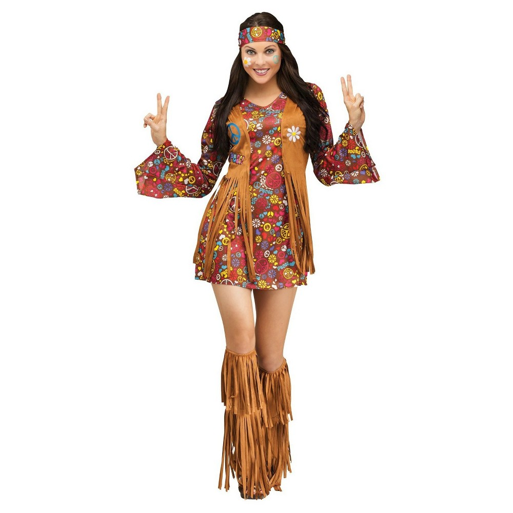 Womens Peace and Love Hippie Costume Small, Brown
