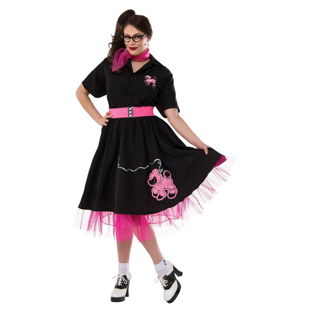 Womens Complete Poodle Skirt Outfit Adult Costume - Xxl, Black