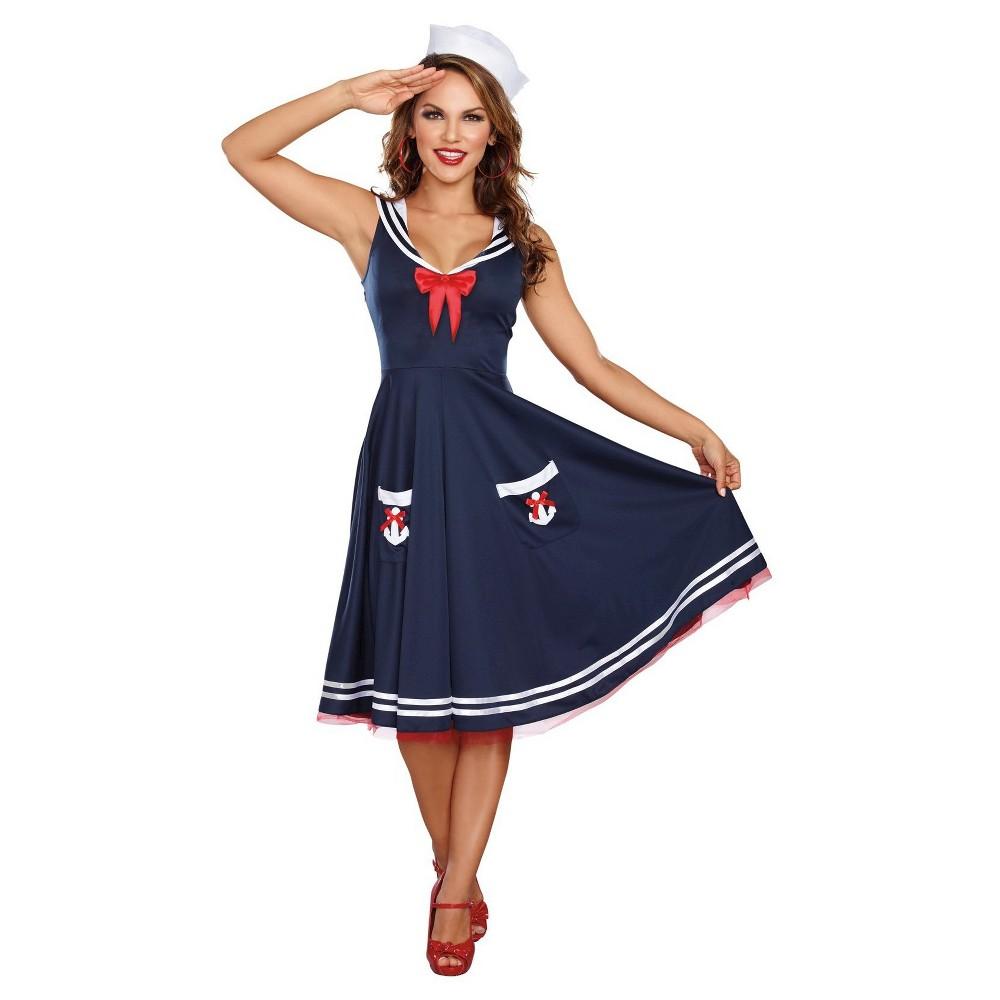 Womens All Aboard Sailor Costume Small, Multicolored
