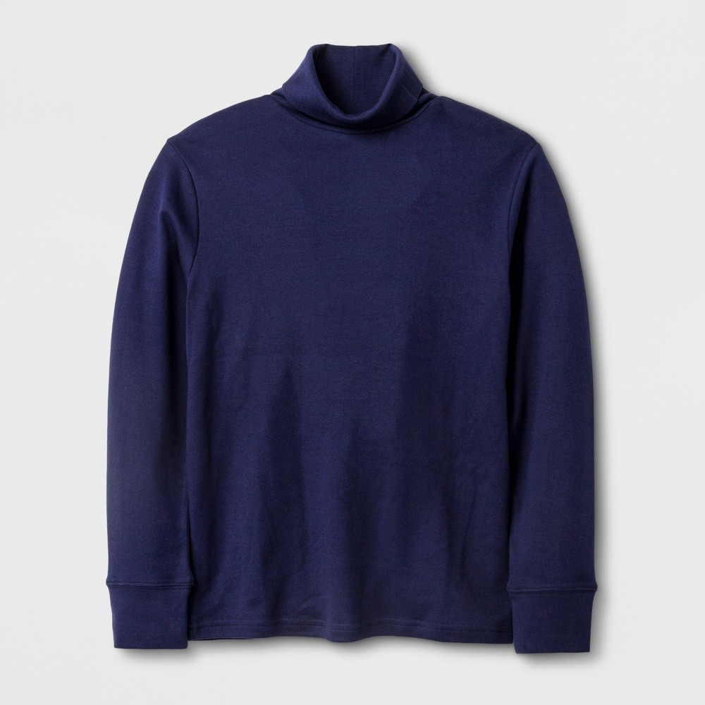 Boys Long Sleeve Turtleneck T-Shirt - Cat & Jack Navy (Blue) M