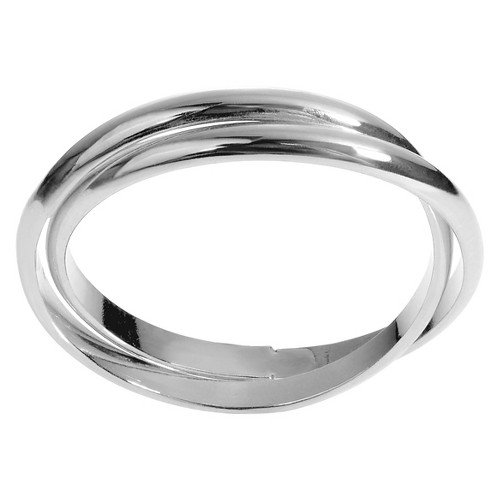 Women's Journee Collection Handmade Double Rolling Ring Band in Sterling Silver - Silver, 9