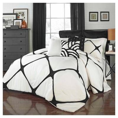 Ivory & Black Cersei Comforter Set (King)3pc - Vue®