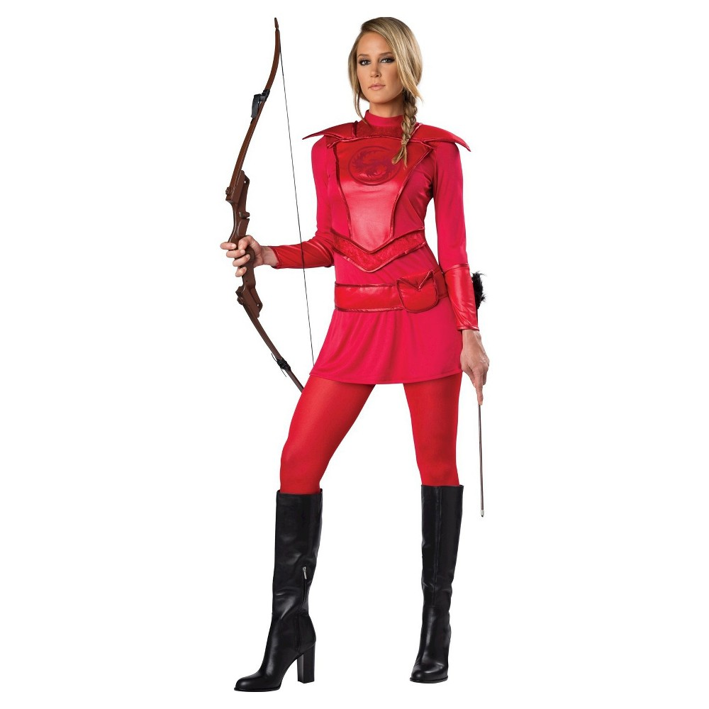 Womens Red Warrior Huntress Costume Large