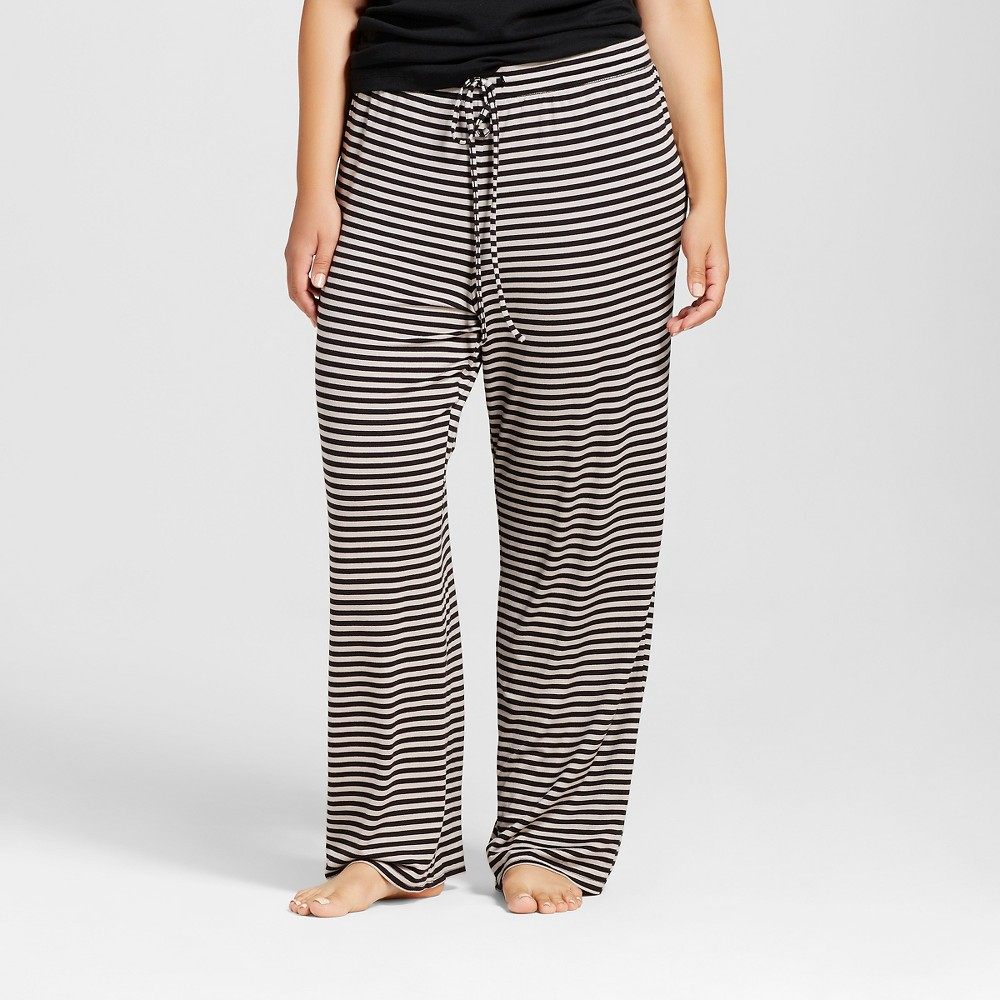 Plus Size Total Comfort Pants - Striped 1X, Womens, Black