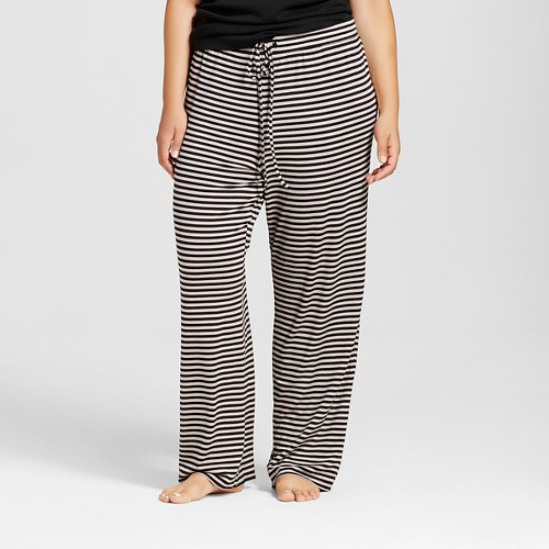 Plus Size Total Comfort Pant Gray Stripe 1X, Women's, Black
