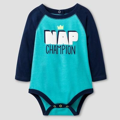 Baby Boys' Long-Sleeve Raglan Nap Champ Bodysuit Cat & Jack™ - Blue 0-3 Months