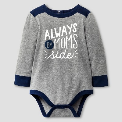Baby Boys' Long-Sleeve Mom's Side Bodysuit Cat & Jack™ - Grey 6-9 Months