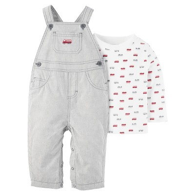 Just One You™ Made by Carter's® Baby Boys' 2pc Fire Truck Overall Set - White Stripes NB