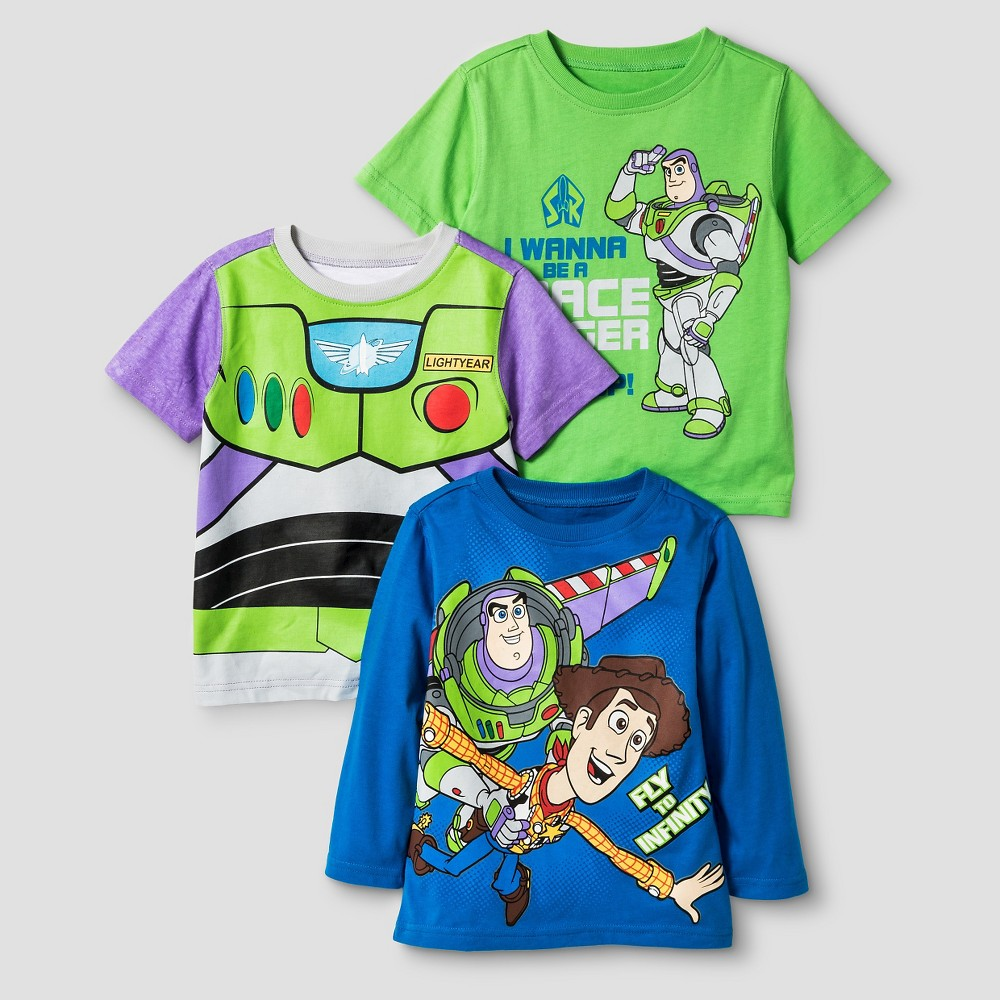 Toddler Boys T-Shirt Set Toy Story Buzz and Woody 2T - 3 pk, Multicolored