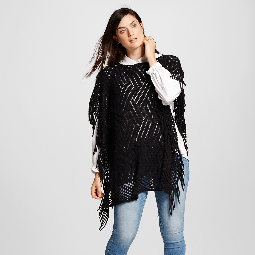 Womens Poncho with Side Fringe - Black