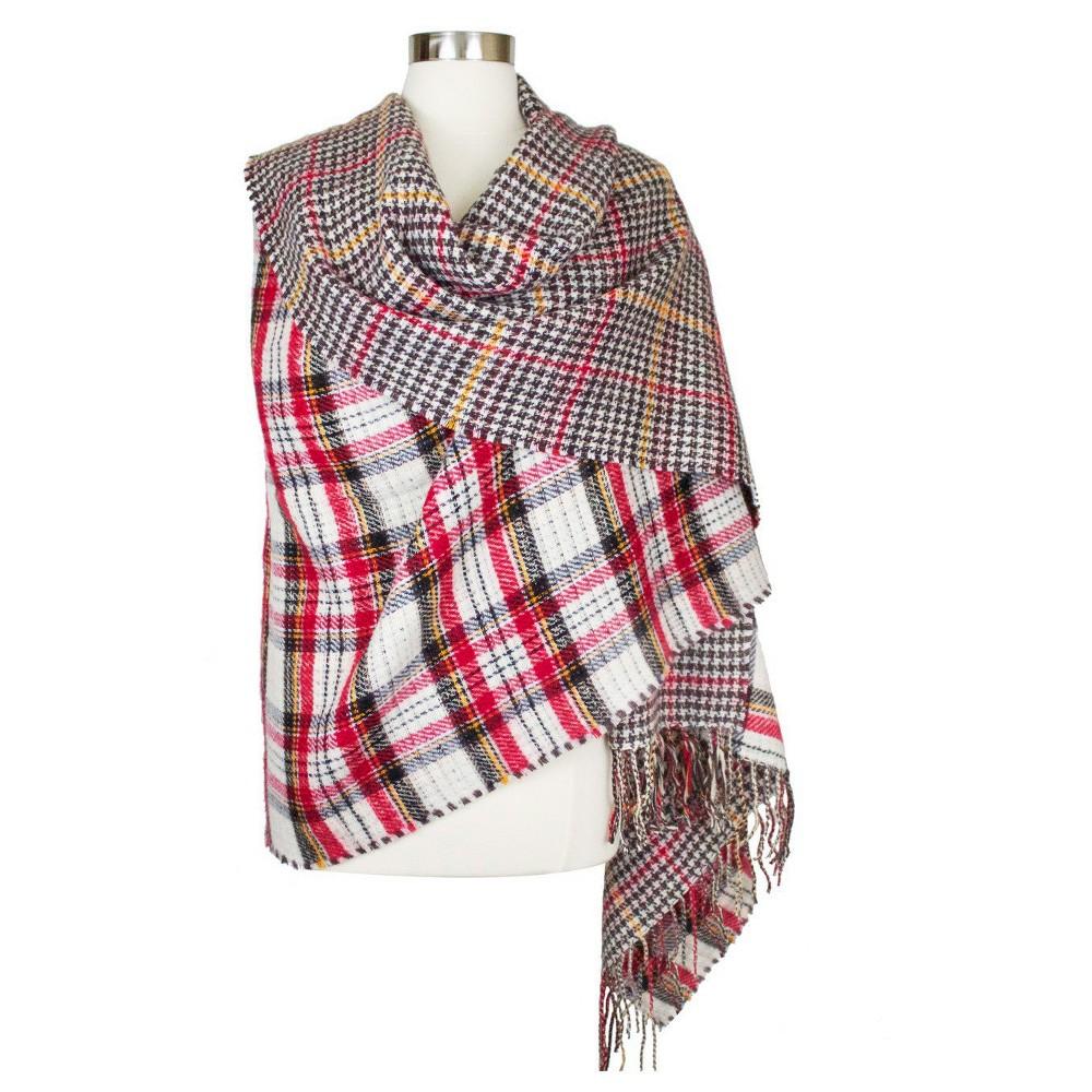Womens Reversible Blanket Scarf Brown Plaid - Sylvia Alexander, Beige