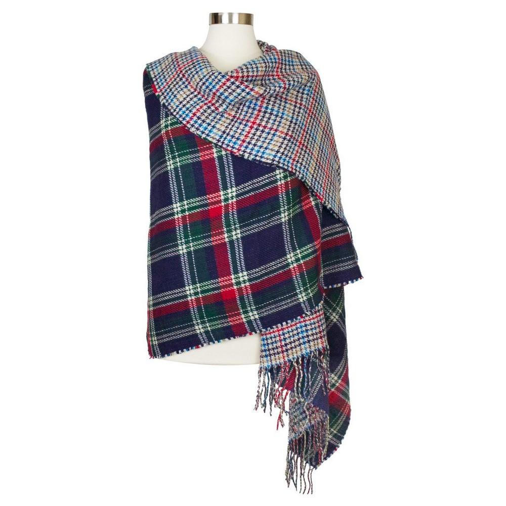 Womens Reversible Blanket Scarf Aqua Plaid - Sylvia Alexander, Green