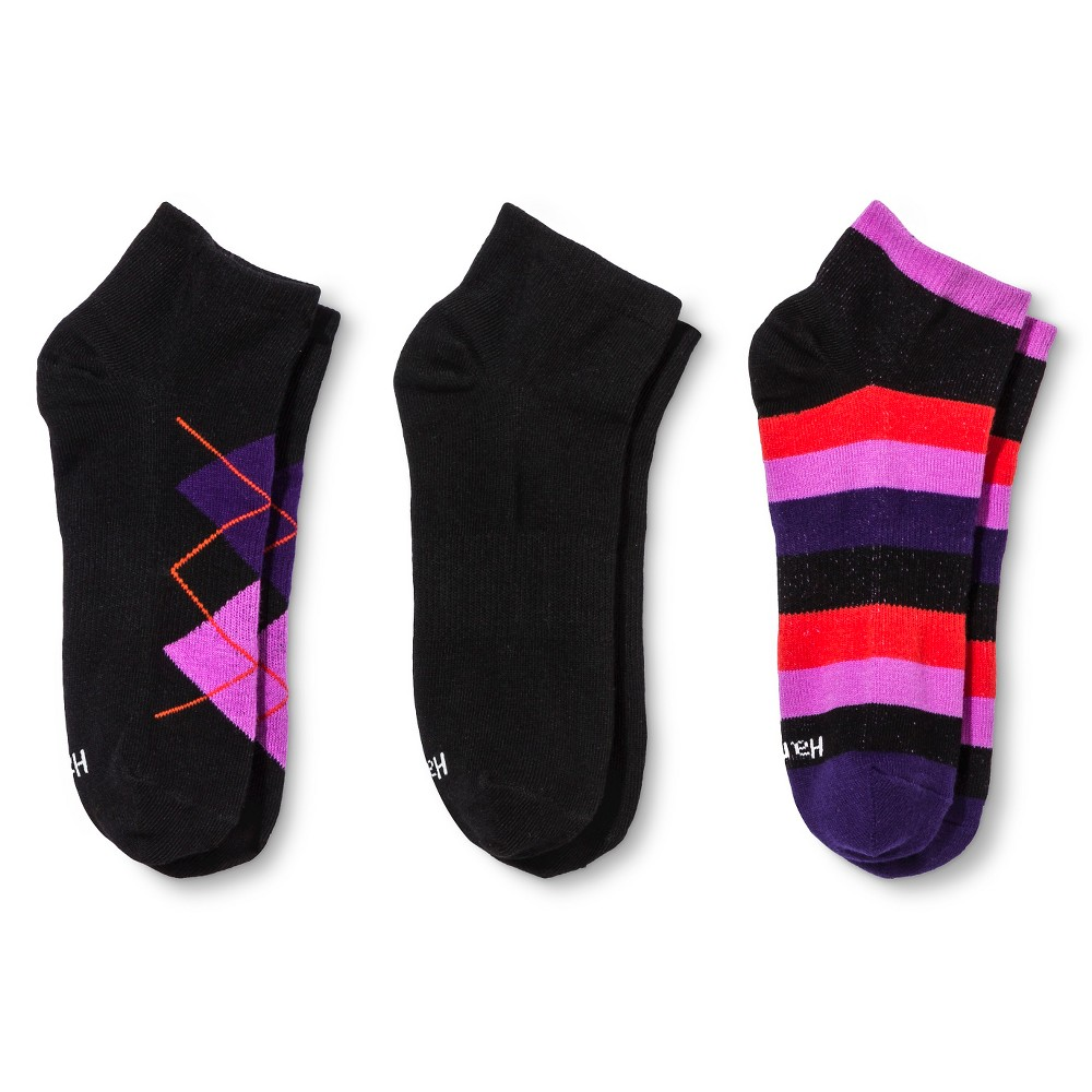 Hanes Premium Womens Flat Knit Argyle Low Cut Socks 3-Pack - Black/Pink 5-9, Size: 8-12