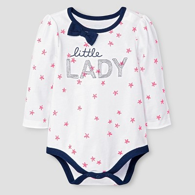 Baby Girls' Long-Sleeve Bow Neck Little Lady Bodysuit Cat & Jack™ - White 6-9 Months