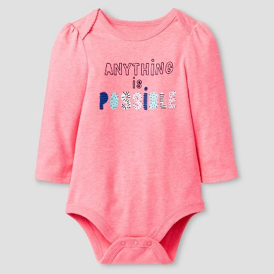Baby Girls' Long-Sleeve Anything is Possible Bodysuit Cat & Jack™ - Coral 0-3 Months