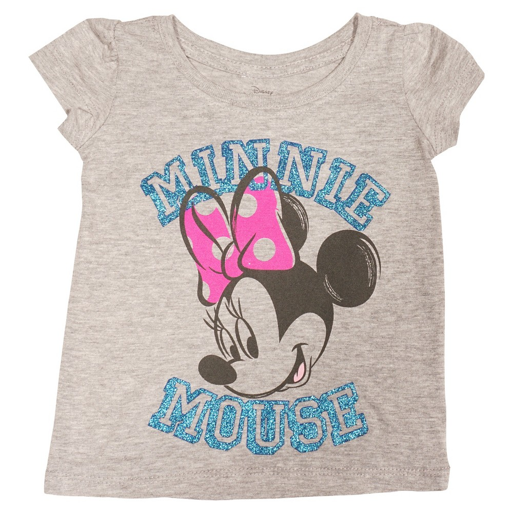 Minnie Mouse Baby Girls Face Short Sleeve T-Shirt 12M - Heather Gray, Size: 12 Months