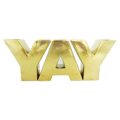 YAY Letter Vase Set Gold 3pc - Oh Joy!
