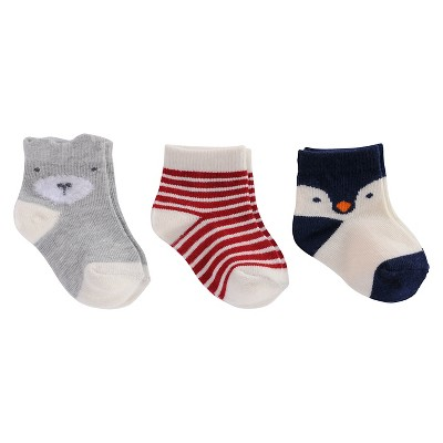 Baby Boys' 3-Pack Bear, Stripe, Penguin Socks Cat & Jack™ - 0-6M