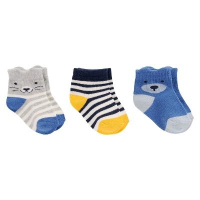 Baby Boys' 3-Pack Cat, Stripe, Bear Socks Cat & Jack™ - 6M-12M