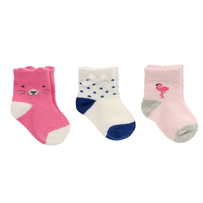 Baby Girls' 3-Pack Cat, Dot, Flamingo Socks Cat & Jack™ - 0-6M