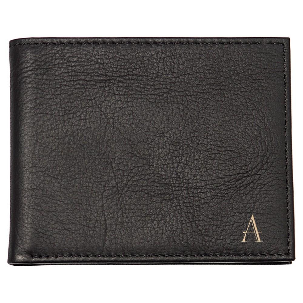 Monogram Bi-fold with Multi-Function Tool Groomsmen Gift Wallet - A, Mens, Black
