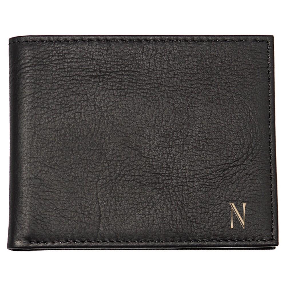 Monogram Bi-fold with Multi-Function Tool Groomsmen Gift Wallet - R, Mens, Black