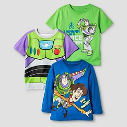 Toddler Boys' Disney Toy Story Buzz and Woody 3 Pack T-Shirts