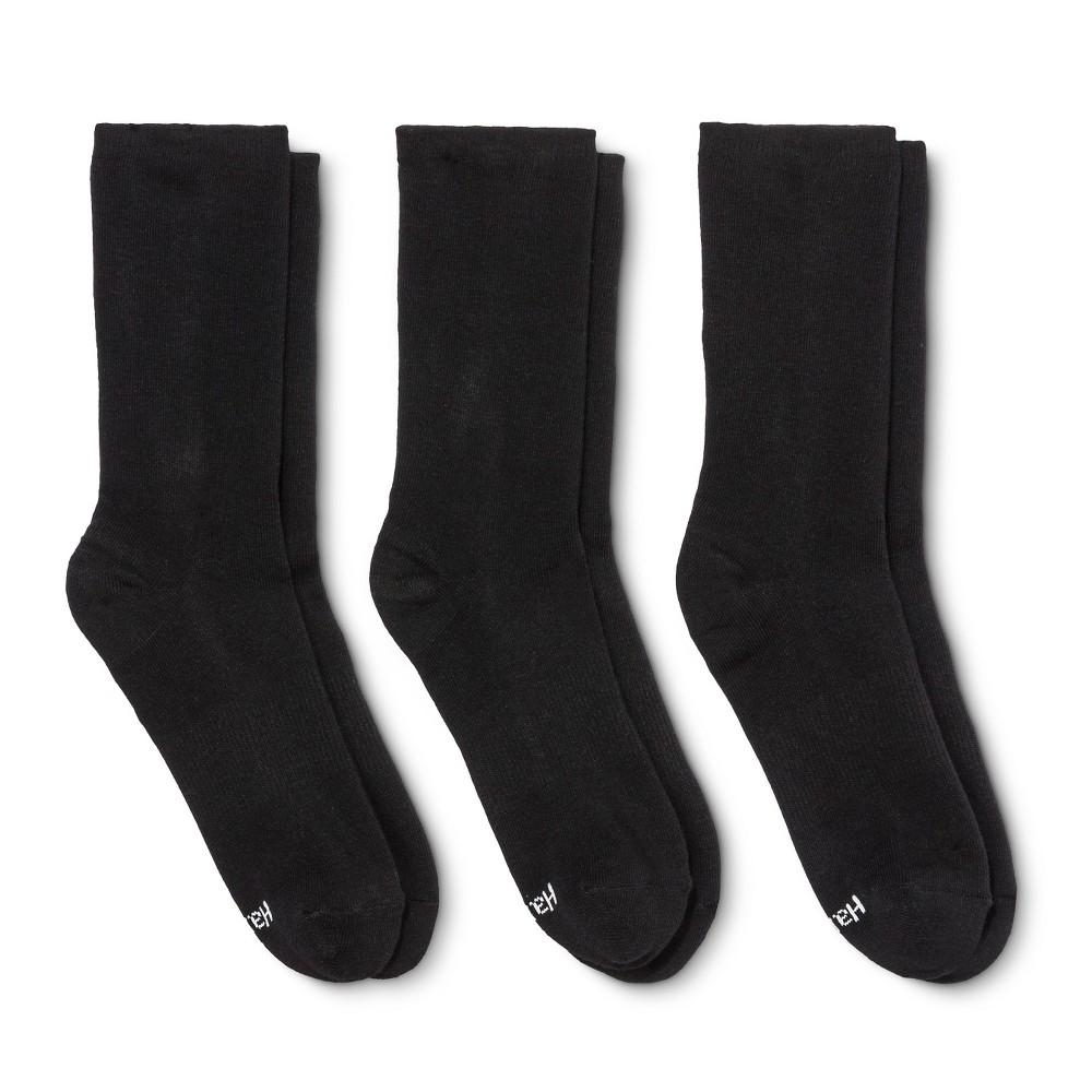 Hanes Premium Womens Cushioned Crew Socks 3-Pack - Black 5-9