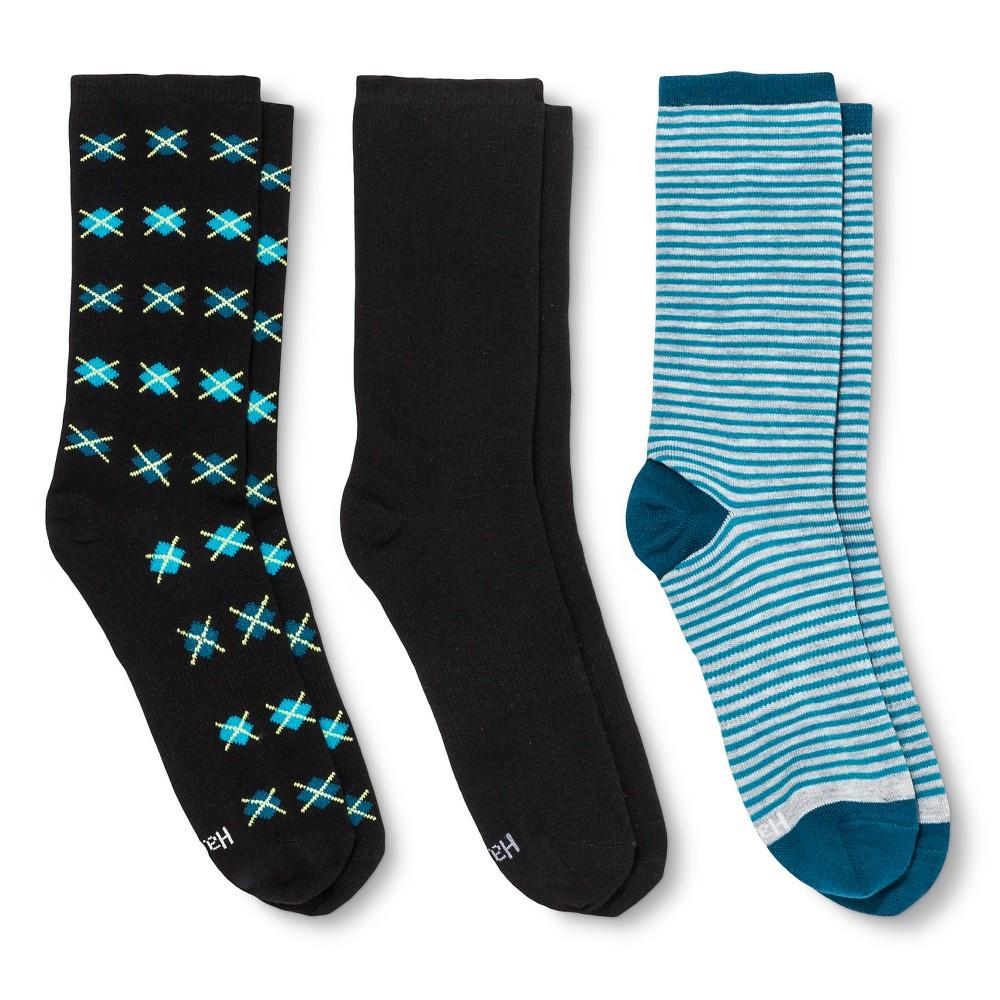 Hanes Premium Womens Flat Knit Crew Stripe Socks 3-Pack - Teal (Blue) 5-9