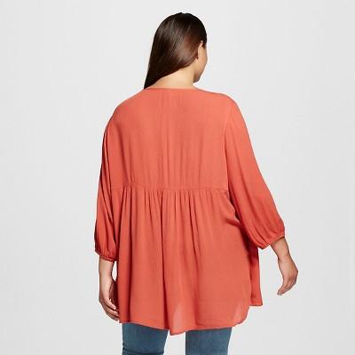 Women's Plus Size Woven Tunic Red 3X - Born Famous (Juniors')