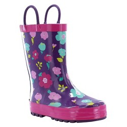 Toddler Girl Lovely Floral Rain Boot Purple - Western Chief