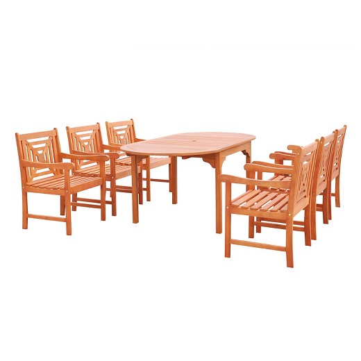 Vifah Malibu Eco friendly 7 Piece Outdoor Dining Set with Oval Extension Tabl