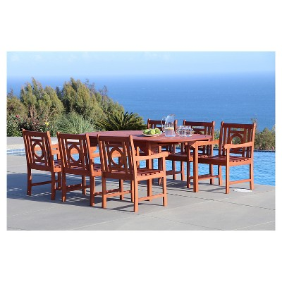 Malibu 7pc Oval Hardwood Outdoor Eco Friendly Patio Dining Set   Brown    Vifah