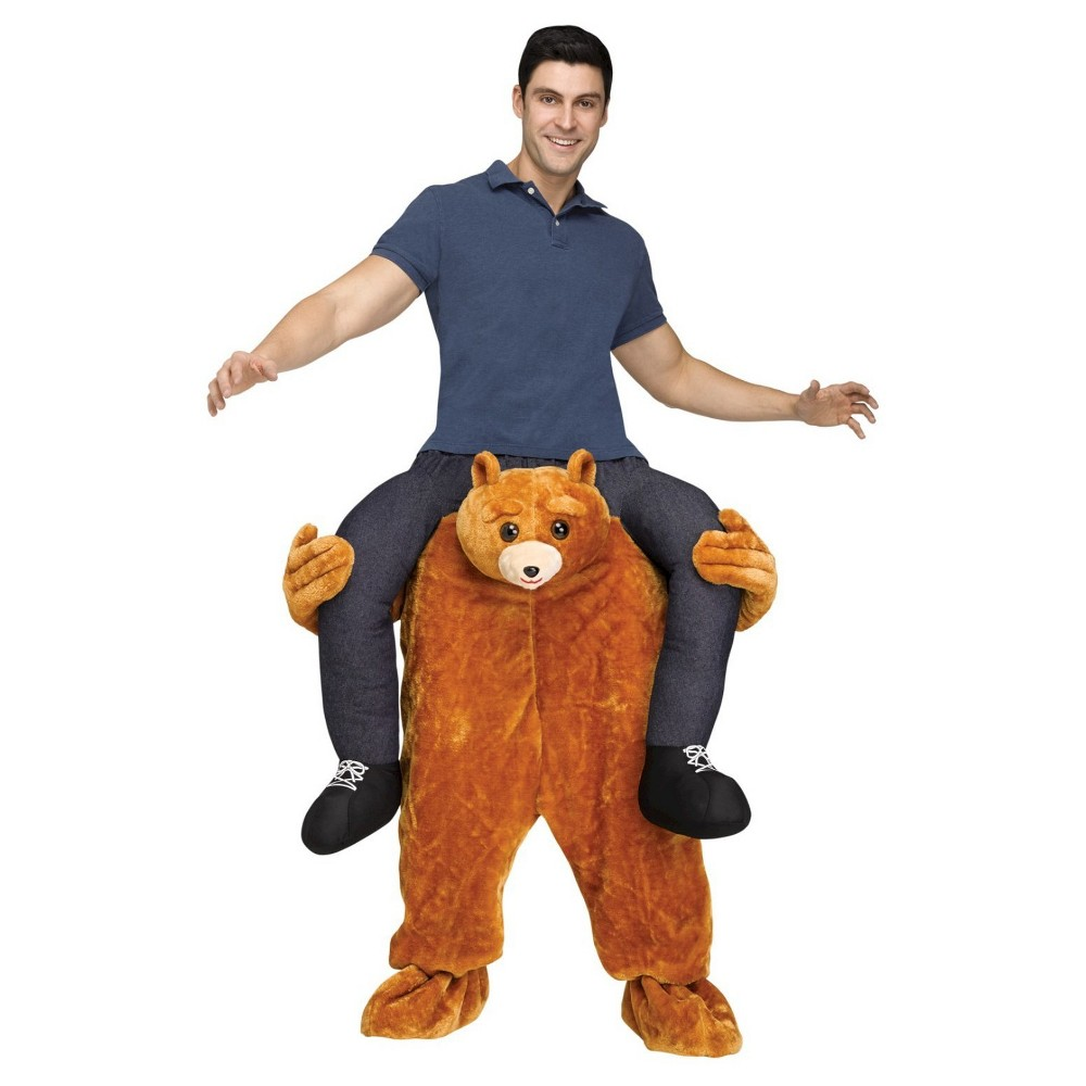 Teddy Bear Riding on Shoulder Adult Costume - One Size Fits Most, Mens, Multi-Colored