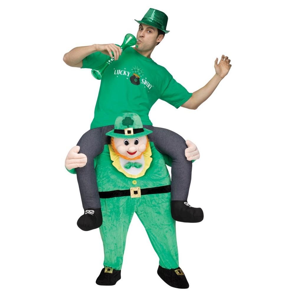 Men's Leprechaun Riding on Shoulder Adult Costume, Multi-Colored