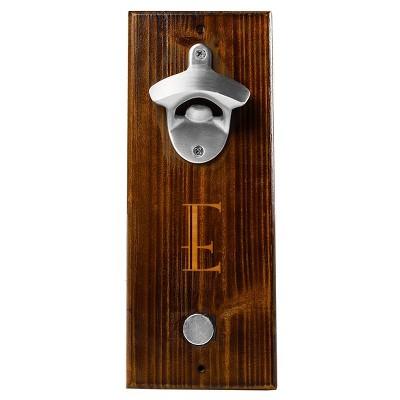 Monogram Groomsmen Gift Rustic Wall Mount Bottle Opener With Magnetic Cap Catcher - E