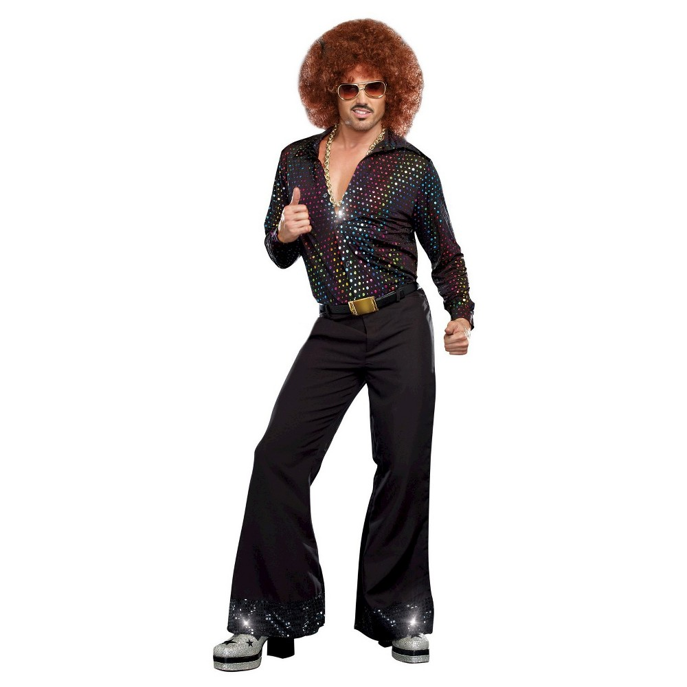 Mens Disco Dude Costume Shirt - X-Large, Size: XL, Black