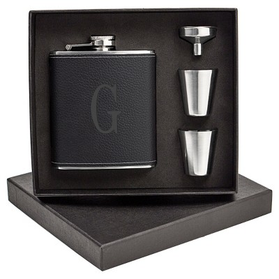 Monogram Groomsmen Gift Leather Wrapped Flask - G
