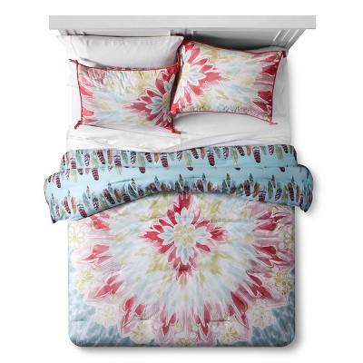 Pacific Fringe Tie-Dye Feather Reversible Comforter Set (Full/Queen)3-pc - Boho Boutique