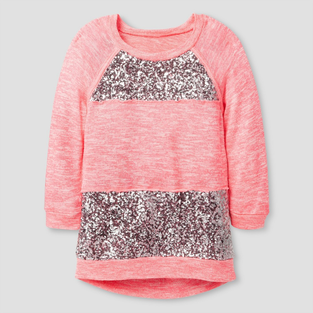 Girls' Miss Chievous Sequined Raglan Sleeve Tunic – Pink S, Girl's