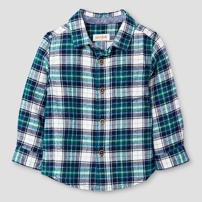 Baby Boys' Plaid Button Down Shirt Cat & Jack™ - Green Plaid 12M