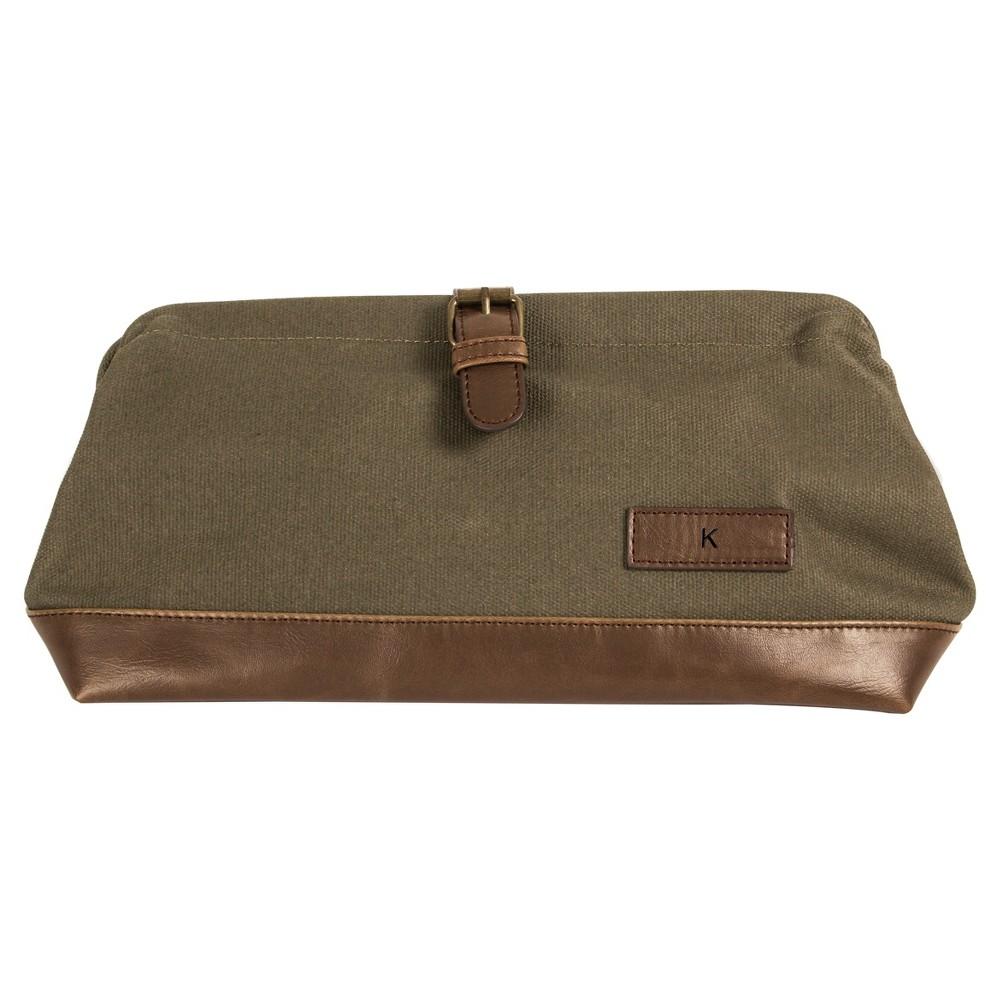 Monogram Groomsmen Gift Travel Dopp Kit Toiletry Bag - K, Green