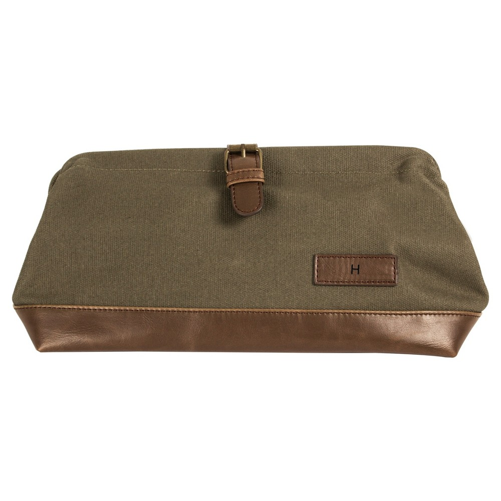 Monogram Groomsmen Gift Travel Dopp Kit Toiletry Bag - H, Green