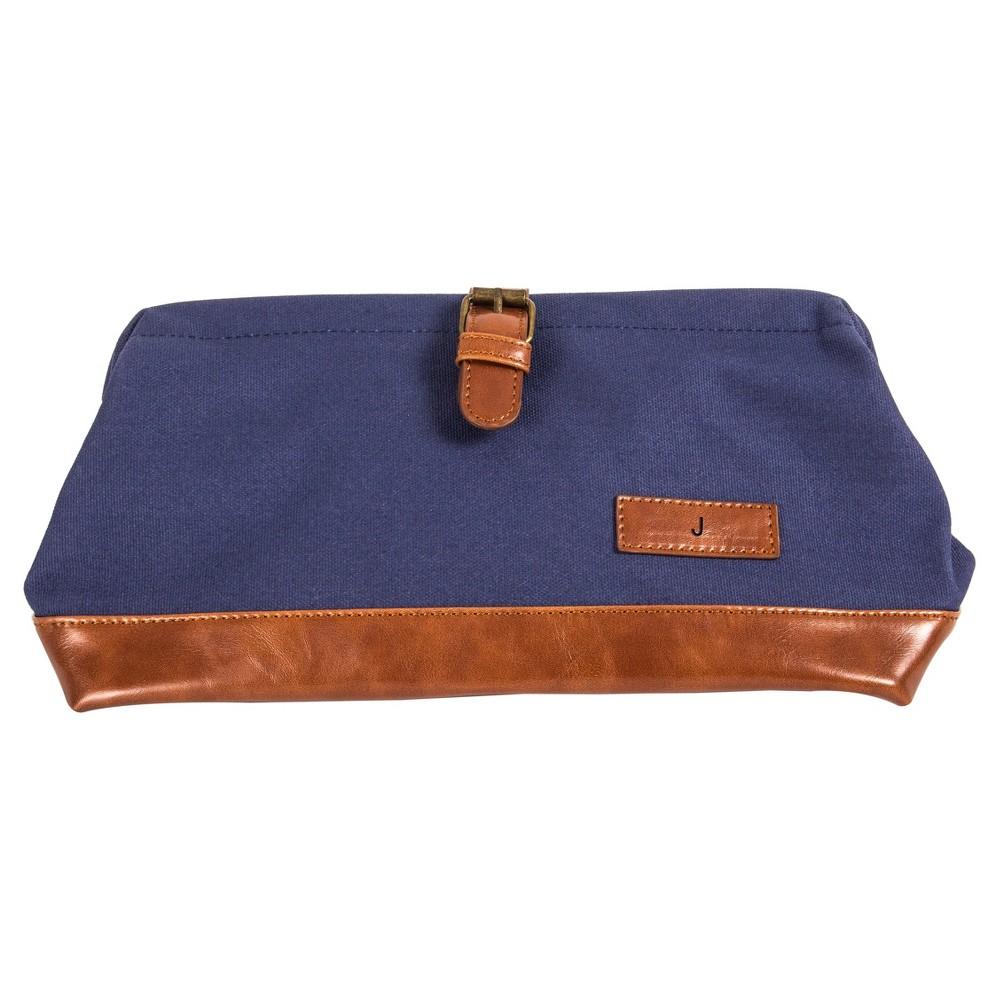 Monogram Groomsmen Gift Travel Dopp Kit Toiletry Bag - J, Blue
