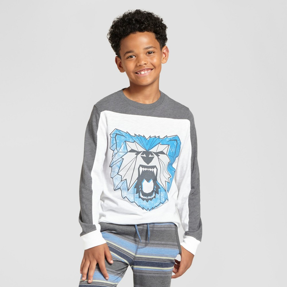Boys Long Sleeve Bear Graphic T-Shirt - Cat & Jack White/ Gray Xxl