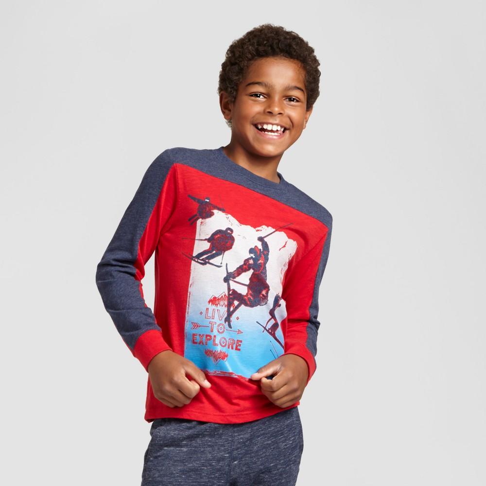 Boys' Long Sleeve Explore Graphic T-Shirt - Cat & Jack Red Xxl