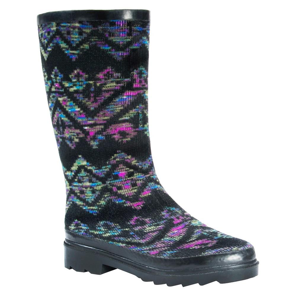 Womens Muk Luks Annabelle Spacedye Rain Boots - Black 7
